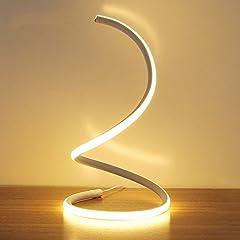 Idea Regalo - Modeen 40W Lampada da tavolo a LED a spirale moderna lampada da tavolo a LED lampada da comodino camera da letto studio di lavoro luce dell'occhio minimalista acrilico perfetto per soggiorno