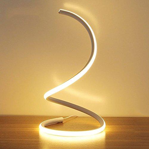 Modeen 40w lampada da tavolo a led a spirale moderna lampada da tavolo a led lampada da comodino camera da letto studio di lavoro luce dell'occhio minimalista acrilico perfetto per soggiorno