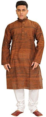 Exotic India Khadi Kurta Pajama Set with Thread Weave - Color Pecan Brown Garment Size 38 -