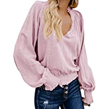 Camiseta de Mujer Primavera Tops EUZeo,T-Shirts Volantes Manga Corta Blusa Fiesta Verano