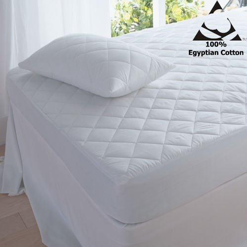 Quilted mattress protector Egyptian cotton T-200 new bedding (King)