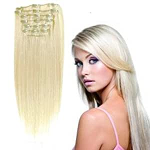 "Forever Young Premium White Blonde #60 Clip In Human Hair Extension FULL HEAD - 18"" Long"