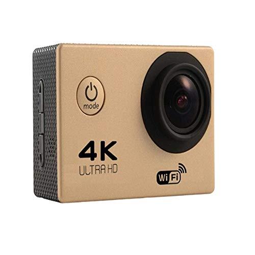 Action-Kamera, 4K wasserdicht Sport DV WiFi-Fernbedienung HDMI 170 Grad Weitwinkel 2,0 HD LCD-Bildschirm 1600W Sport im Freien Unterwasserkamera Zubehör-Set (Color : Golden) -