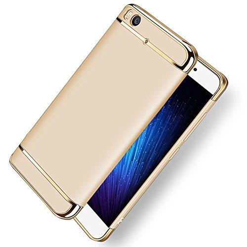 Xiaomi Mi 5s Hülle, MSVII® 3-in-1 Design PC Hülle Schutzhülle Case Und Displayschutzfolie für Xiaomi Mi 5s - Schwarz JY50111 Gold