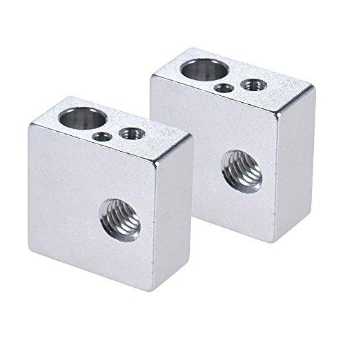 Aibecy 2 unids Bloque Calentador de Aluminio Todo de Metal 20 * 20 * 10mm para MK7 MK8 Extrusora RepRap i3 DIY 3D Impresora