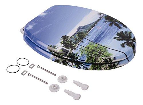 Sanlux 40383 2 Sitz Urlaubsparadies, Toilettensitz, WC-Brille aus Holz, Soft-Close-Absenkautomatik, Klodeckel, Toilettendeckel, Metall-Scharnier, Dekor, Universal
