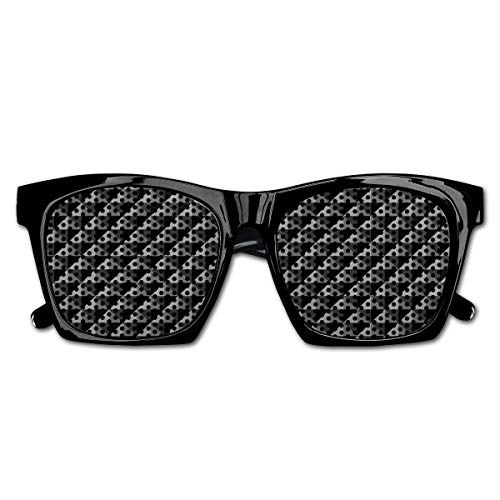 Mesh Sunglasses Sports Polarized, Abstract Monochromatic Pattern with Triangles Checkered Design 3D Effect Modern,Fun Props Party Favors Gift Unisex