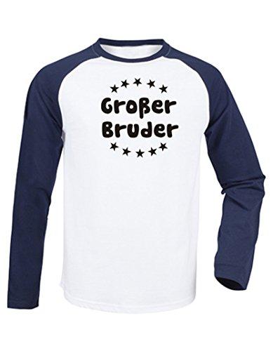 Kinder Baseball T-Shirt langarm (Farbe weiss/navy) (Größe 110/116) Großer Bruder (Mädchen-raglan-t-shirt Weiße)