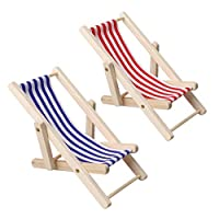pengxiaomei 2 pcs Mini Beach Chair, Mini Wooden Chair Beach Chair Model Mini Foldable Beach Chair Mini Furniture Accessories with Red/ Blue Stripe for Dollhouse Garden Accessory