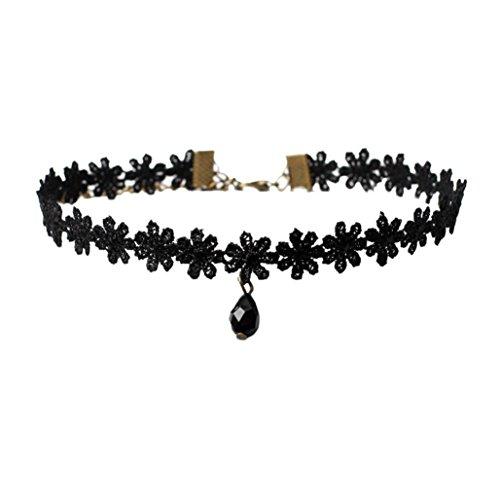 VJGOAL Damen Halskette, 1 PC Mädchen Choker Halskette Set Stretch Samt Klassische Gothic Tattoo Spitze Choker Frau Geschenk (A)