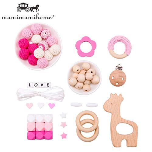 Mamimami Home DIY Baby Zahnen Spielzeug Silikon Krankenpflege Halskette Häkelnde Perlen Armband Hölzern Giraffe Schnuller Clips Sechskantperlen