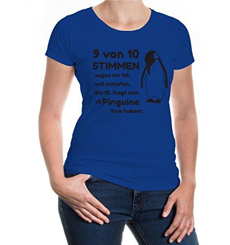 buXsbaum® Girlie T-Shirt 9 von 10 Stimmen sagen mir ich soll schlafen Royal-Black