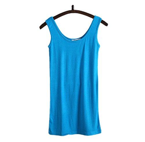 Wenseny Donna BXC Lungo Casual Canotta Senza Maniche T Shirt Blu scuro