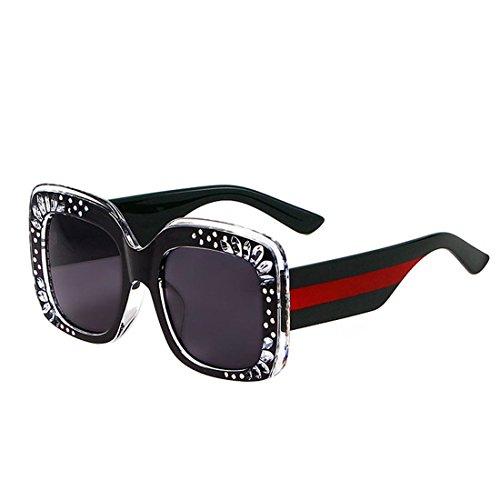 GCC Sonnenbrillen Fashion Square Crystal Flower Sonnenbrille,