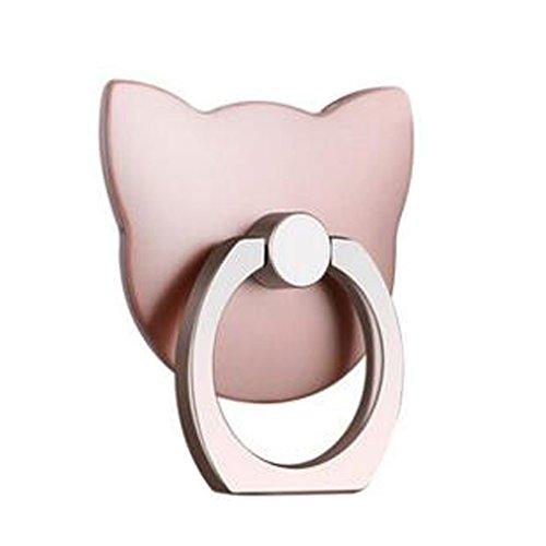 Anello a forma di simpatico gatto, supporto/sostegno per la maggior parte degli smartphone, colore: rosa