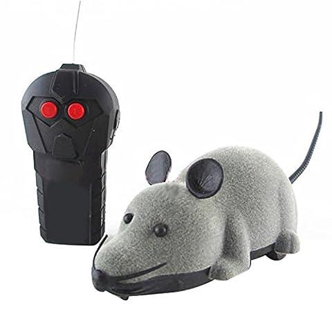 Zaote Fernsteuerungs-Ratten-Maus-Spielzeug für Katzen-Hundetier-Neuheit-Geschenk Lustiges Grau