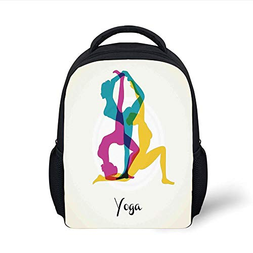 Kids School Backpack Yoga Decor,Different Yoga Poses Energetic Female in Motion Pilates Human Health Wellbeing Design,Pink Yellow Teal Plain Bookbag Travel Daypack