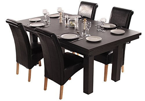 The Amalfi Black Pool Dining Table (Red Cloth)