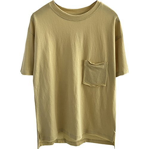 Xmy Einzelne Tasche t-Sommer runder Kragen Shirt Frauen kurz vor, Lange Lose Video Thin Kurzarm Farbe T-Shirt aus Baumwolle ist EIN Zahlensystem, Gelb