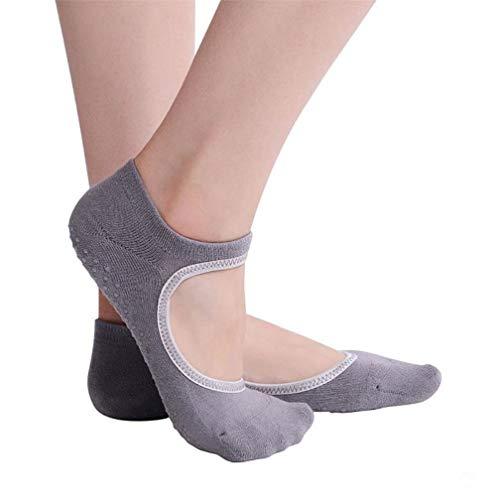 GHKPA 3 Paare Yoga Socken Frauen Terry Backless Baumwolle Rutschfeste Socken Großhandel Unsichtbare Silikon Socken, grau