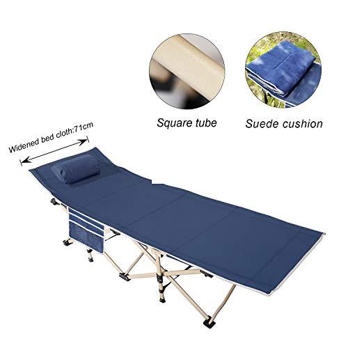 soges Feldbett Campingbett Tragbares Faltbares Bett im Freien mit gepolstertem Kissen und Seitentasche, leichtes Schlafsofa, Blaugrün,CT-F10-71M