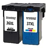Compatibile Lexmark 363736XL 37XL Cartucce di inchiostro per Lexmark x3630x3650x3690x4630X4650X5650X5690X6650X6675x6690z2400z2410Z2420stampante 2x(1 Noir, 1 Tri-couleur)