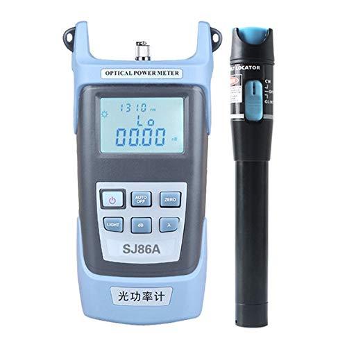 Instrumento de prueba de fibra óptica, instrumento de prueba de fibra óptica de 5Km + lápiz de localización con función de corrección de lectura 7 Longitudes de onda de apagado automático Conjunto de medidor de potencia óptica