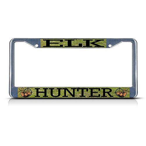 ELK Tierjagd Metall-Kennzeichenrahmen mit Zwei Löchern perfekt für Männer und Frauen fürs Auto Hibiscus Tank