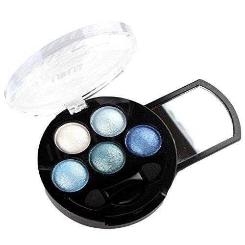 Haifly 5 Farben Augen Schminke Glitzer Lidschatten Puder Kosmetik Eyeshadow Glitter Make up Palette Blau