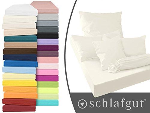 Serie basic von schlafgut aus 100% Baumwolle in 30 Uni-Farben +++ Mako-Jersey-Spannbetttuch +++ Mako-Jersey-Kissenbezug erhältlich in 3 Größen, ecru, Kissenbezug 40 x 80 cm (Perlen Baumwoll-jersey Aus)