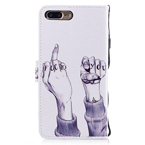 iPhone 7 Plus Hülle,Fodlon® Mode Gemalt Karte Schlitze mit Schlüsselband Telefon Schutzhülle -Weiße Katze Scheiße