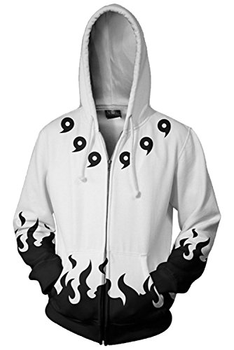 Naruto Sharingan Hokage Pulli Kapuzenpulli Cosplay Kostüm Weiß M