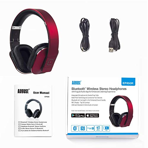 August EP650 Bluetooth v4.2 NFC Kopfhörer mit aptX Low Latency – Kabellose Over-Ear Headphones mit individuellem Sound (Rot) - 7