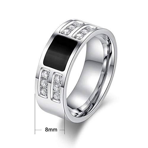 ERDING Unisex/Verlobungsring/Freundschaftsring/Stilvolle Herren Eheringe Ring mit glänzenden CZ Stein Silber Ton Edelstahl männlichen Ring US-Größe (Cz-ehering-sets Für Sie)