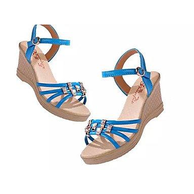 LQXZM Sandales femmes sandales d'été décontracté boucle Talon en PU noir / bleu / blanc / Beige Autres Blue