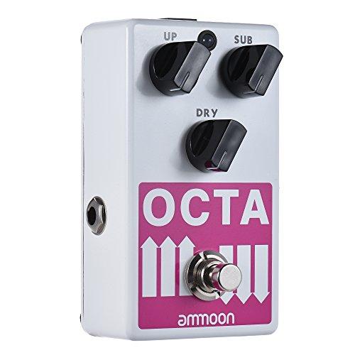 ammoon Effekt Pedal Gitarren Effektgerät OCTA E-Gitarre Präzise Polyphonic Octave Generator Effektpedal Unterstützt SUB/UP Oktave & Dry Signal Full Metal Shell mit True Bypass