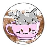 INWIEDU - Runder Magnetsticker Katze I Love Coffee - Magnetfolie runder Sticker - Größe Ø 55 x 1 mm - Kühlschrank Magnet Tafel