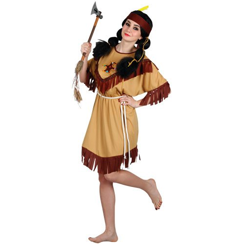 Kopfschmuck Kostüm Indian Womens - Ladies American Indian Squaw Fancy Dress Adult Costume
