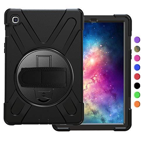 OKZone Hülle für Galaxy TAB S5E T720,360 Grad Drehständer/Handschlaufe/Schultergurt Ultra Hybrid Stoßfest Full Body Schutzhülle für Samsung Galaxy TAB S5E T720 10.5 Zoll (Schwarz)