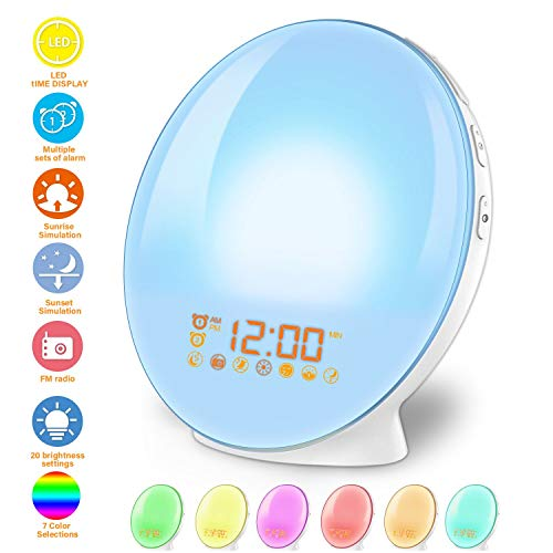 imoebel LED Wake-up Licht, Wake-up Light, Lichtwecker, Digitaler Wecker, Sonnenaufgangssimulation, 7 natürliche Töne, FM Radio, Schlummerfunktion, Tageslichtwecker.