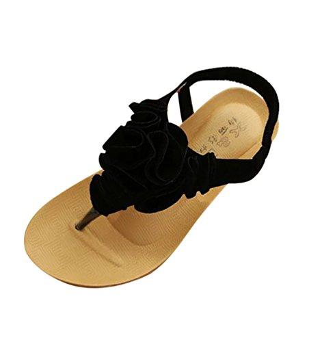 YOUJIA Thong Sandalen Damen Klippzehesandelholze Flache Sandalen Schuh Strand Sandelholz Schuhe Schwarz