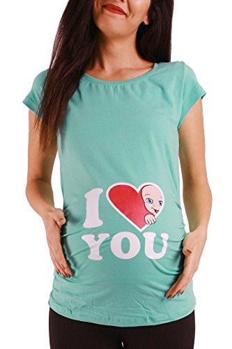 432d520845 M.M.C. I Love You Premaman Abbigliamento Donna Magliette Premaman T Shirt  Divertente Gravidanza Maniche Corte maternità