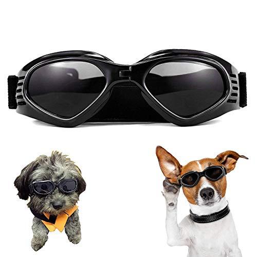 XUNKE Hunde Sonnenbrille Verstellbarer Riemen für UV-Sonnenbrillen Wasserdichter Schutz für kleine und mittlere Hunde