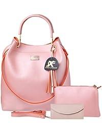 Speed X Fashion Women's Handbag And Shoulder Bag With Sling Bag 3-Combo(SKT-Pink)