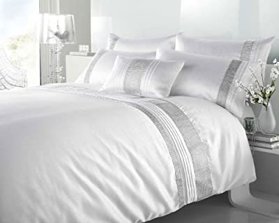Double Size - White & Silver Diamante Faux Silk Duvet Cover Bed Set