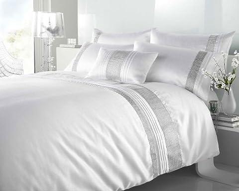 KING SIZE - WHITE & SILVER DIAMANTE FAUX SILK DUVET COVER BED SET