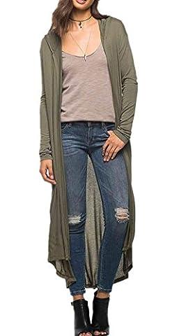 Beunique Femme Cardigan Gilet à Capuche Maxi Longue Automne Veste à Manches Longues Mode