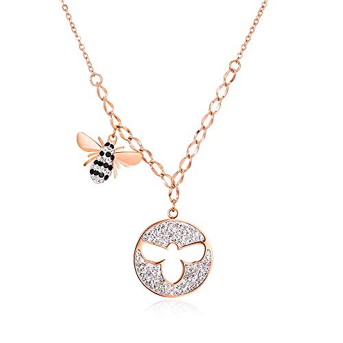 a98dbcac92cca2 SEN Tiny Cute Animals Necklaces,18K Gold Filled Dainty Handmade Charm  Bumblebee Butterfly Necklaces Jewelry