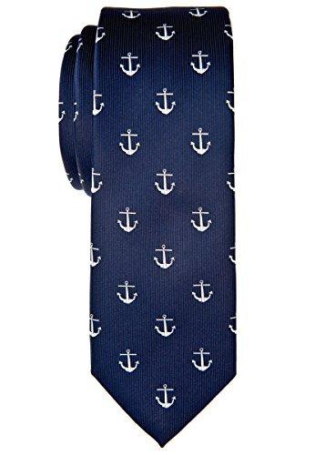 Retreez Klassische Krawatte mit Ankermuster, gewebte Mikrofaser, 5cm, in verschiedenen Farben Gr. Einheitsgröße, marineblau