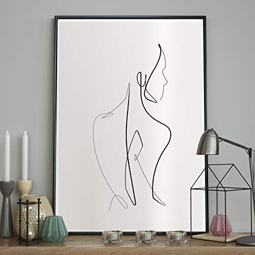 DecoKing Poster 40x50 cm mit Rahmen Wandbild Zeichnung Wandposter von Bester Qualität nackte Frau weiß schwarz Sketchline Naked -